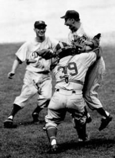 1955! Podres, Campanella, and Hoak Celebrate