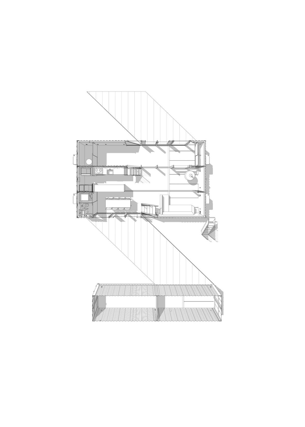 Двухэтажный семейный дом из 6 стандартных контейнеров в США