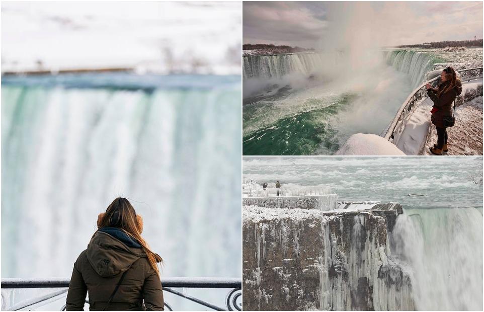 Потрясающие изображения Ниагарского водопада зимой показывают, как брызги воды превращаются в лед