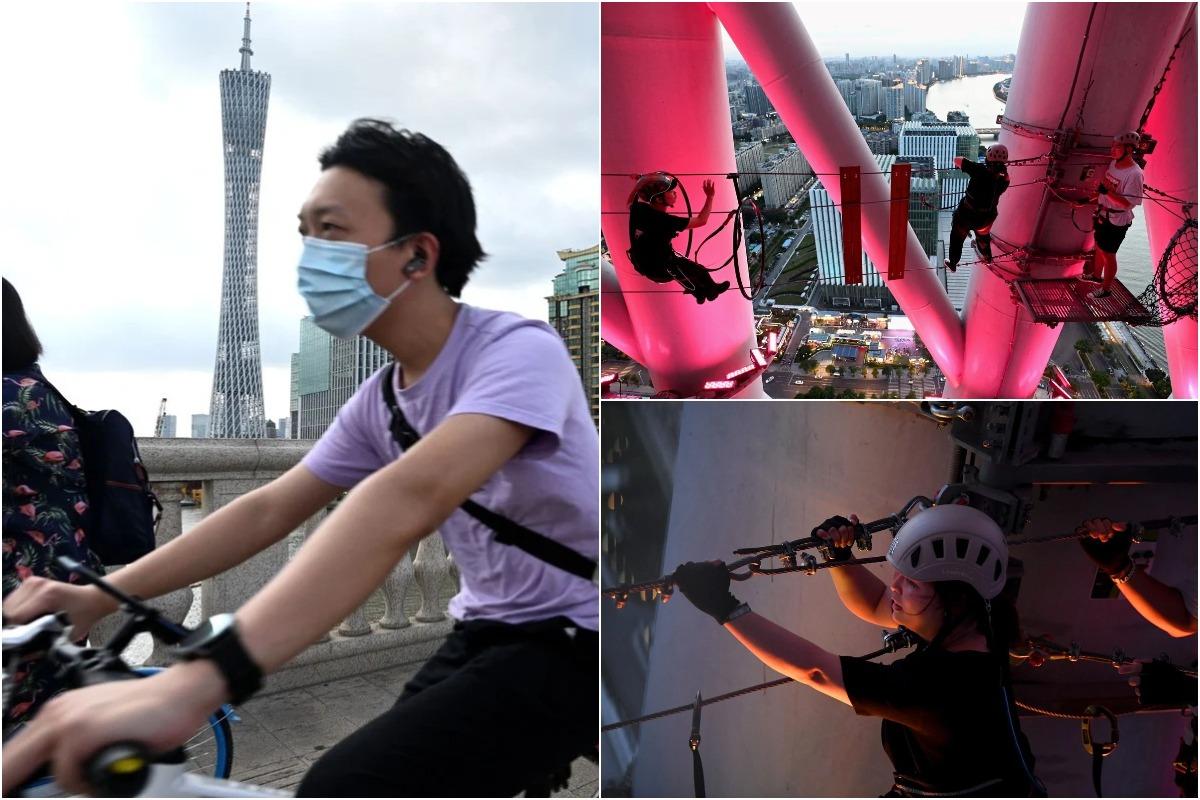 Аттракцион для туристов, ищущих острых ощущений: восхождение на телебашню Гуанчжоу