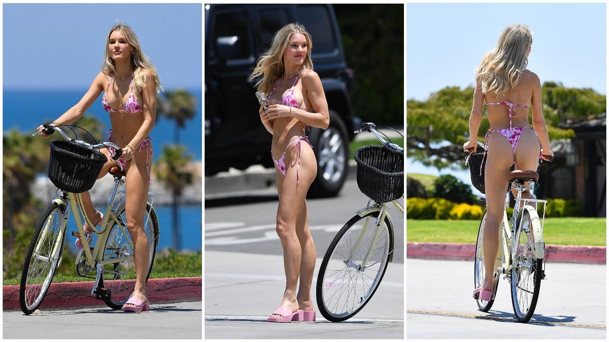 Джой Корриган прокатилась на велосипеде в бикини