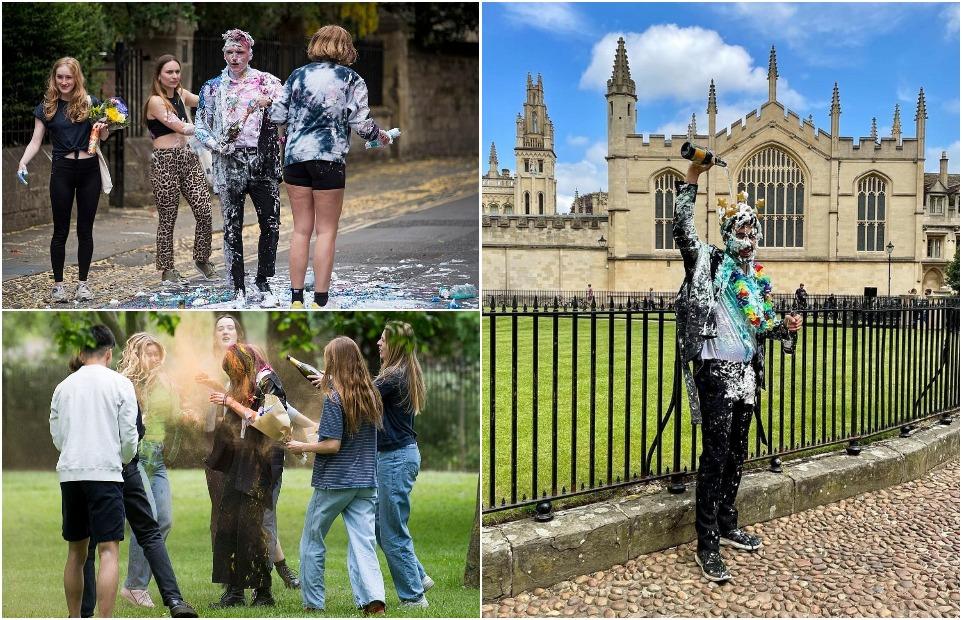 Оксфордские студенты проигнорировали запрет на традицию забрасывать сверстников конфетти и пеной