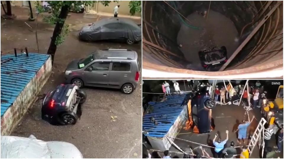 Автомобилист снял на видео, как его машина ушла под землю