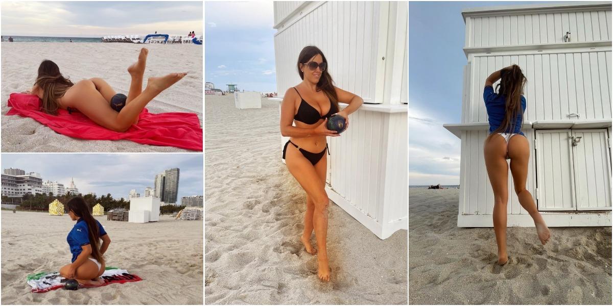 Клаудия Романи на пляже в Майами