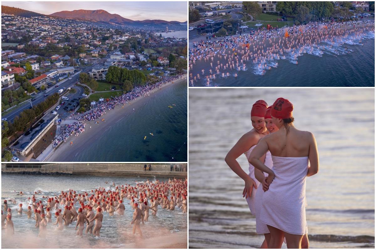 Тысячи людей искупались в холодной воде в день солнцестояния в Тасмании