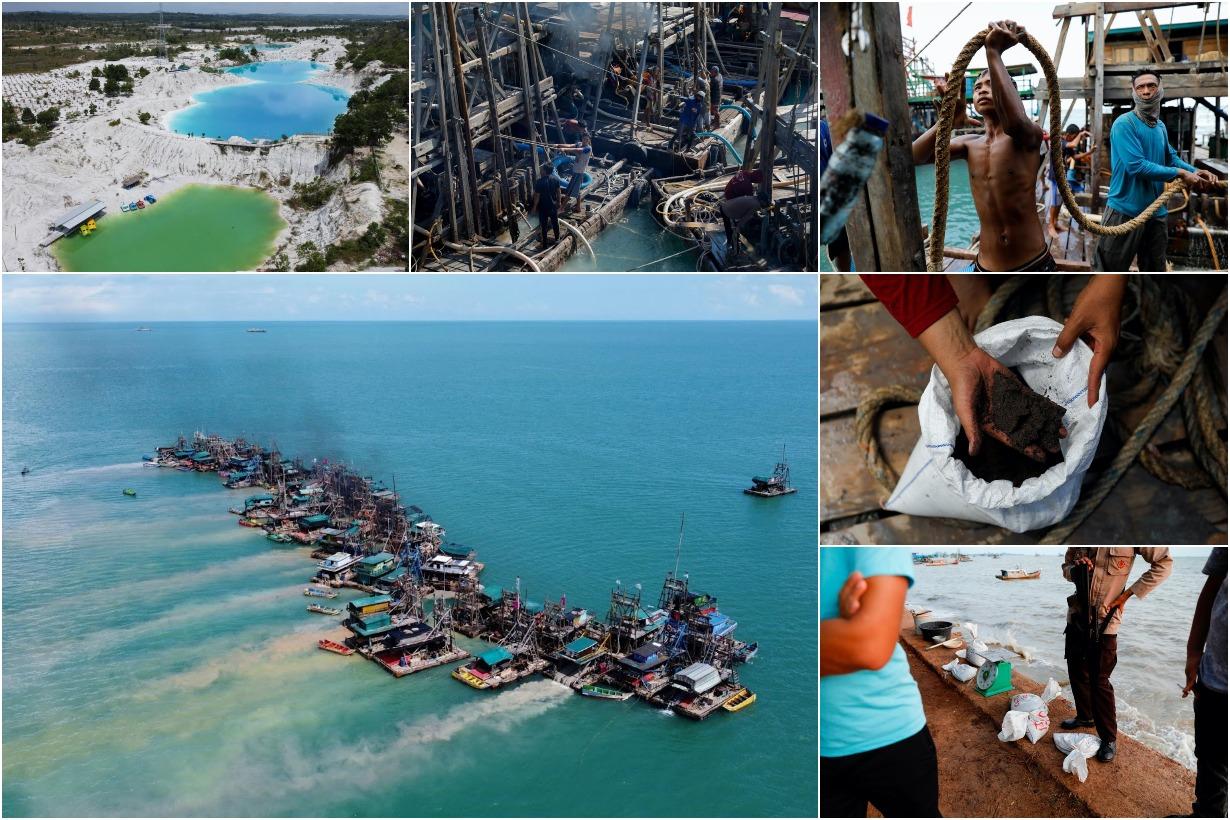 Добыча олова из моря в Индонезии
