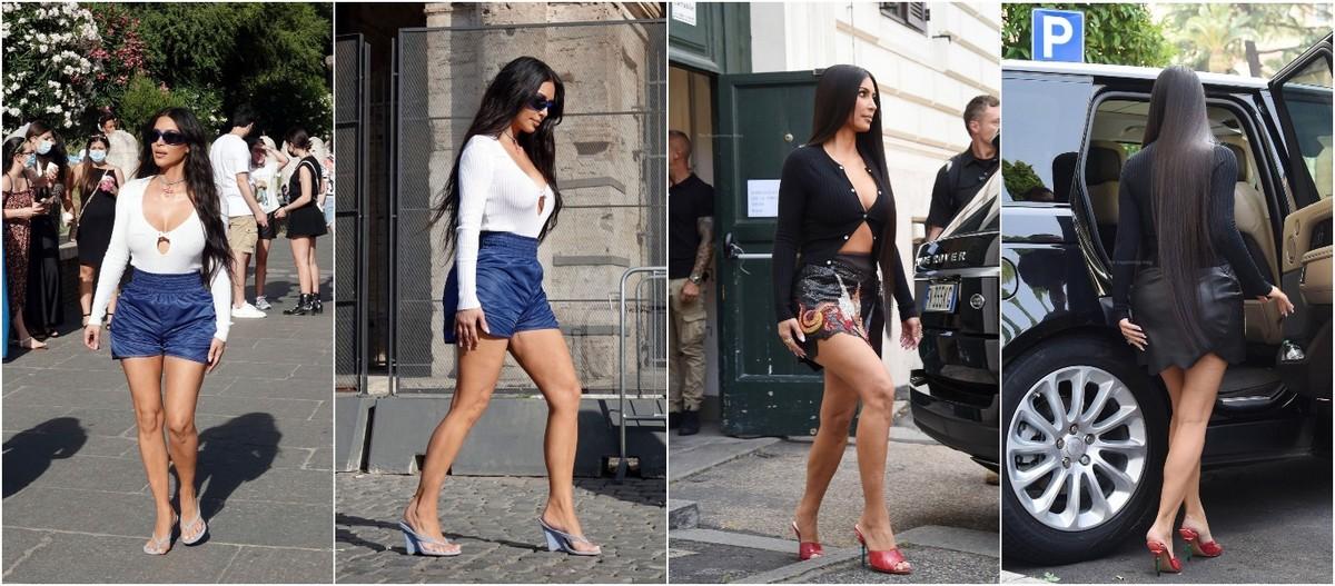 Ким Кардашьян на улицах Рима