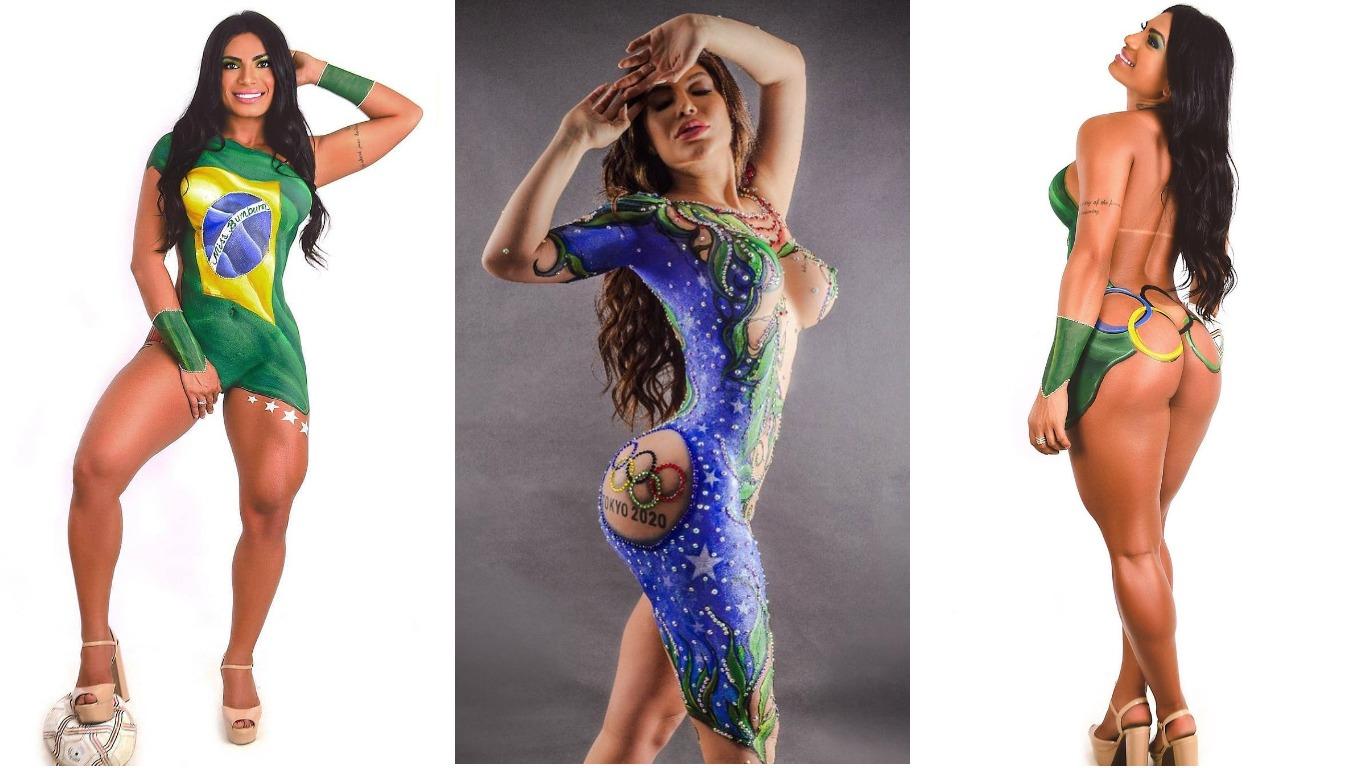 Голый патриотизм: конкурсантки Мисс Бум Бум разукрасили тела, чтобы поддержать спортсменов