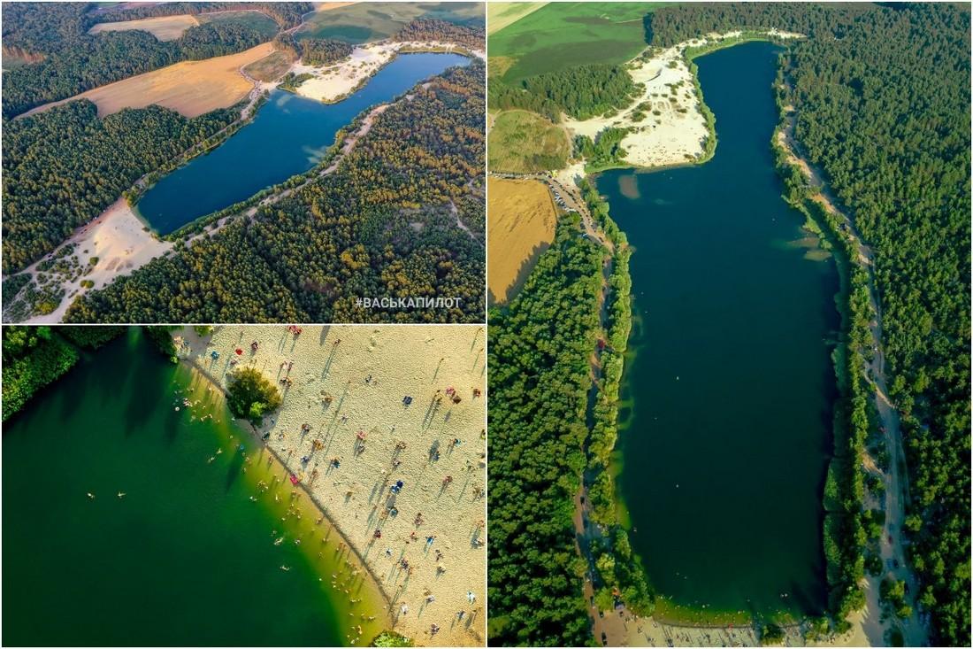 Ибица под Брестом: невероятный водоем с бирюзовой водой и мелким песком с высоты птичьего полета