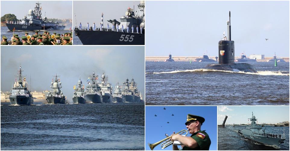 Эсминцы, подводные лодки, тральщики и истребители на генеральной репетиции ко дню ВМФ