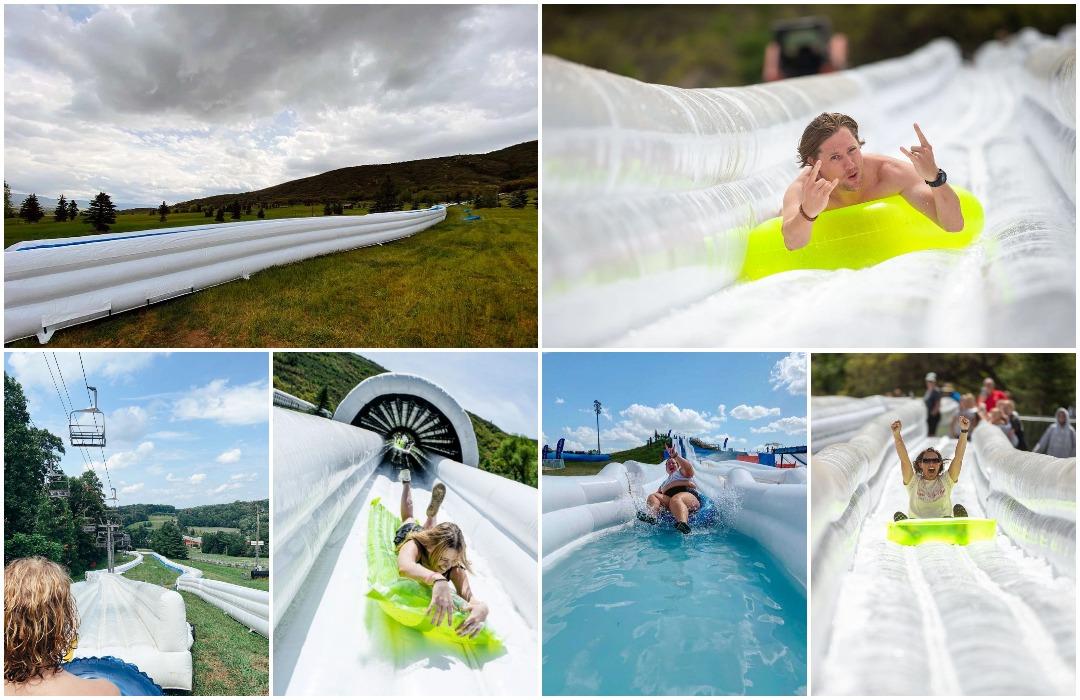 Крупнейший в мире фестиваль Slide The Slopes превращает лыжные склоны в США в водные аттракционы