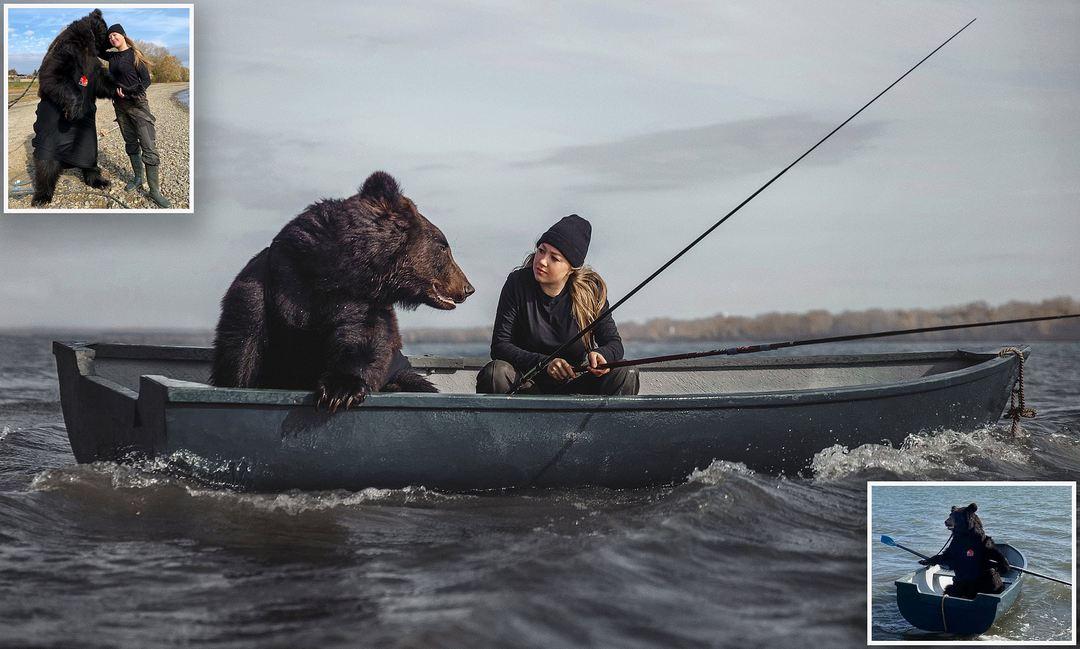 Девушка из Новосибирска отправилась на рыбалку с другом-медведем