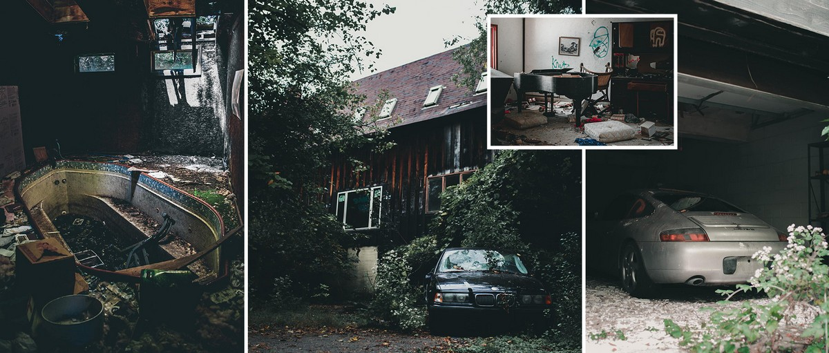 заброшенный дом с припаркованным БМВ и Порше в гараже