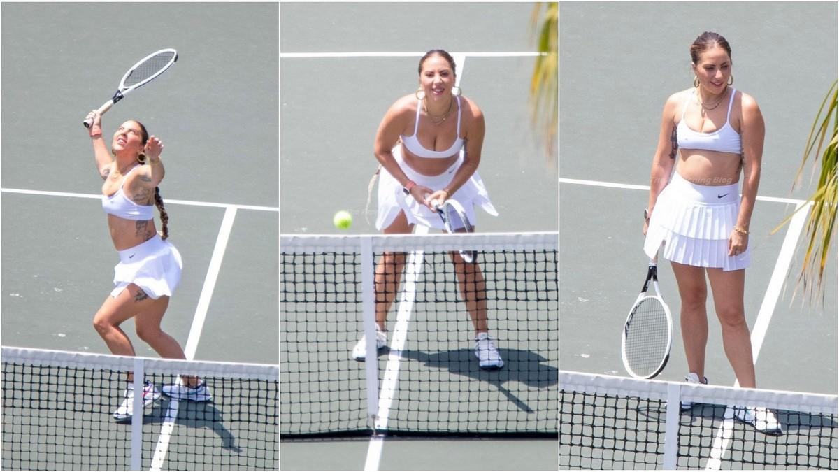 Леди Гага на теннисном корте