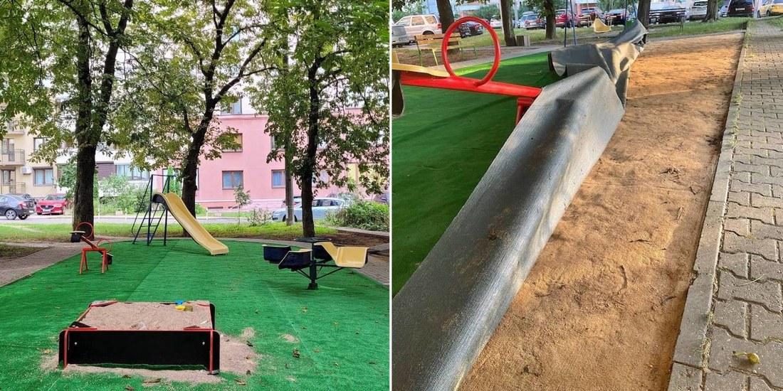 «Положили дырявый ковролин и даже не закрепили»: детская площадка в минском дворе за $5 600