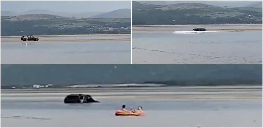 Внедорожник застрял на песчаной косе во время прилива