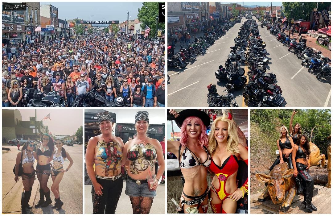 Сотни тысяч людей собрались на ежегодное мотоциклетное ралли Стерджис