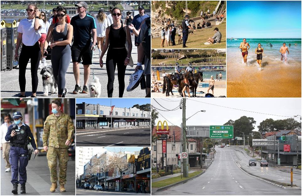 Противокоронавирусные меры в Австралии: одни Сиднейцы отдыхают на пляже, другие сидят дома
