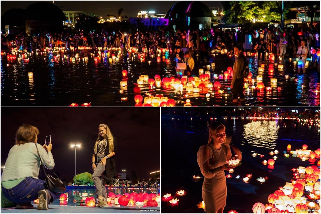 Первый вечер фестиваля водных фонариков прошел в Минске