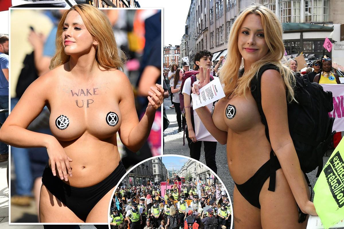 Яркая участница протеста в Лондоне