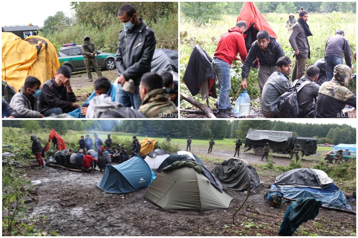 Стихийный лагерь афганских мигрантов на белорусско-польской границе