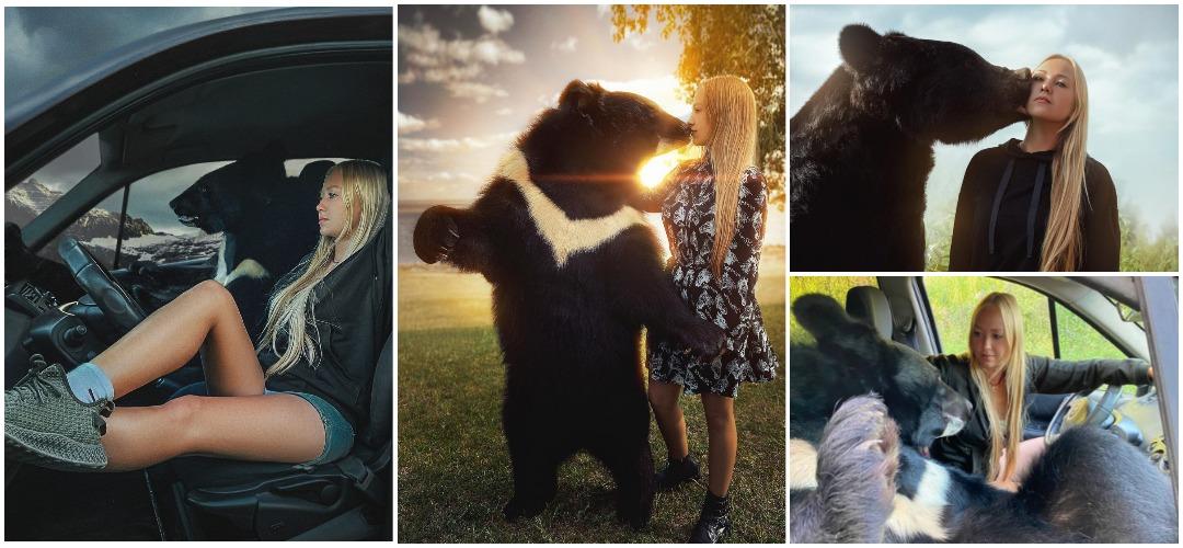 Хрупкая девушка заботится о большом медведе и даже катает его на своем автомобиле