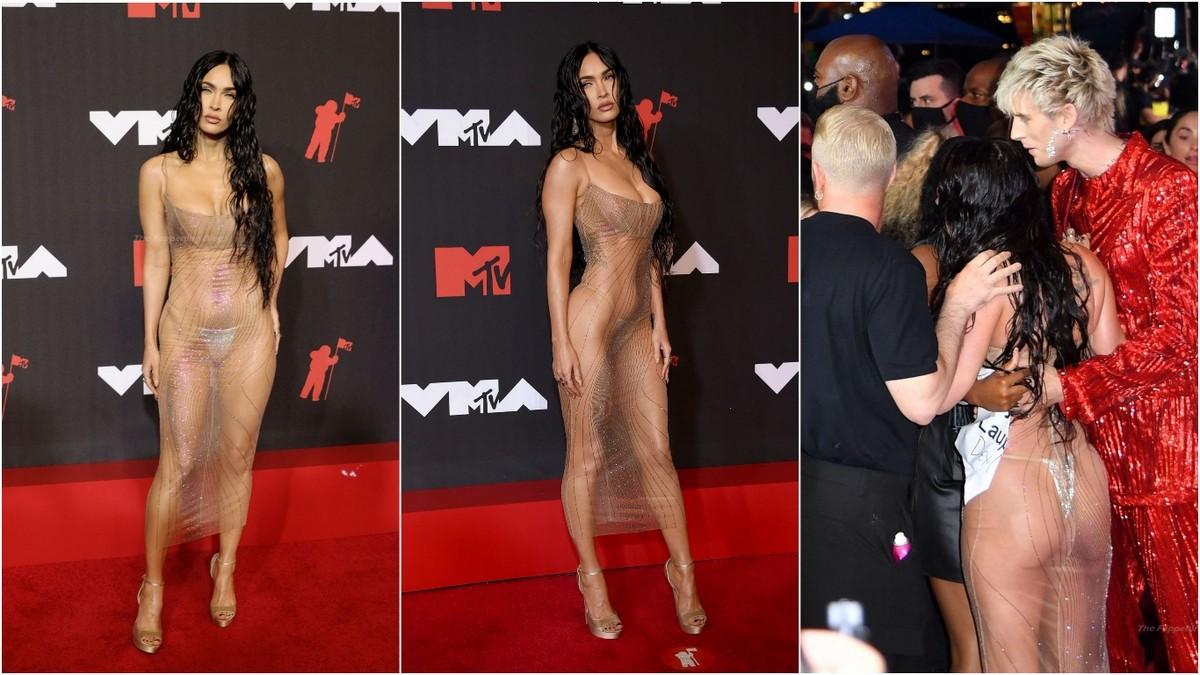 Меган Фокс в просвечивающем платье