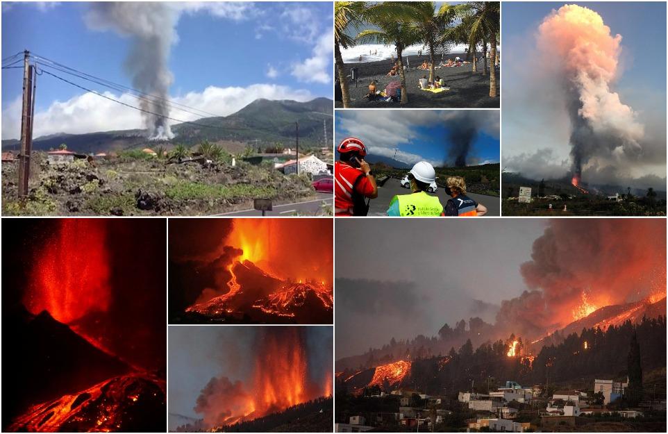 Впервые за 50 лет на Канарском острове Ла-Пальма извергся вулкан Кумбре-Вьеха