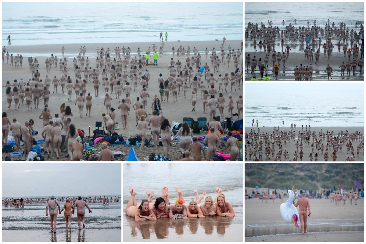 Толпы людей разделись и искупались нагишом в холодном Северном море