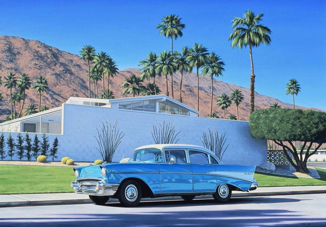 Старинные автомобили, пальмы и бассейны на заднем дворе в Калифорнии на картинах Дэнни Хеллера