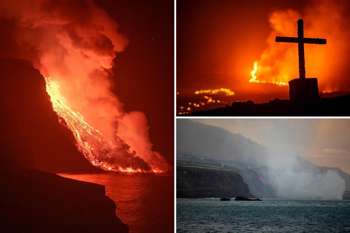 Лава вулкана Ла-Пальма достигла моря, вызвав опасения по поводу токсичного газа