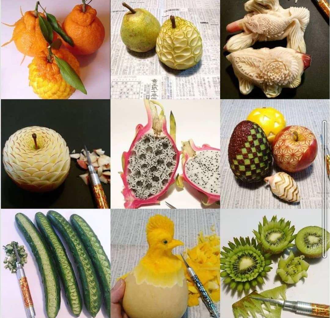 Шеф-повар из Японии вырезает замысловатые узоры на овощах и фруктах
