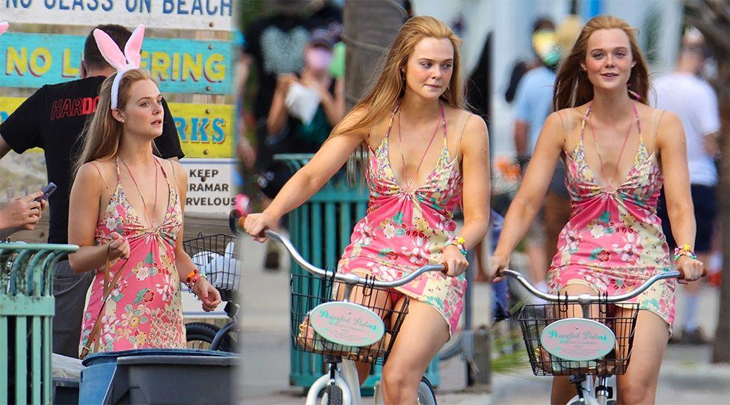 Эль Фаннинг катается на велосипеде