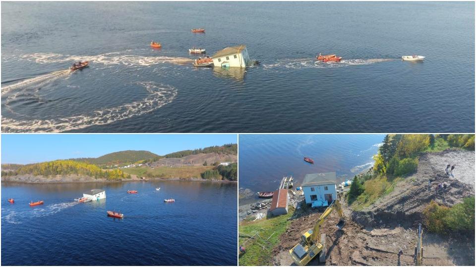 Пара переправила cвой дом по воде на другой берег залива в Канаде