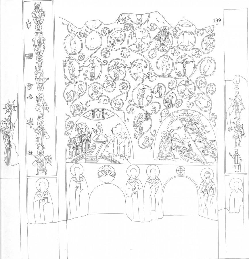 Лево на слици, одозго на доле,  се налазе представе Платона, Плутарха и Сибиле.