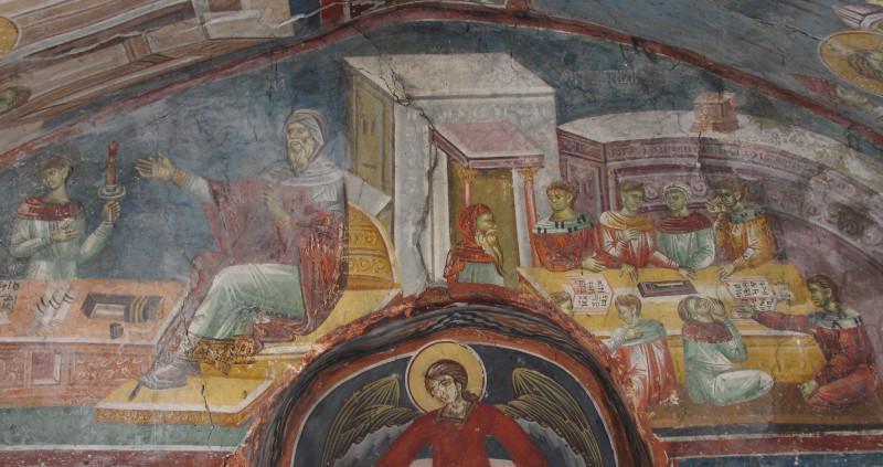 Час математике, црква Светог Илије у Пећи, 11 век.