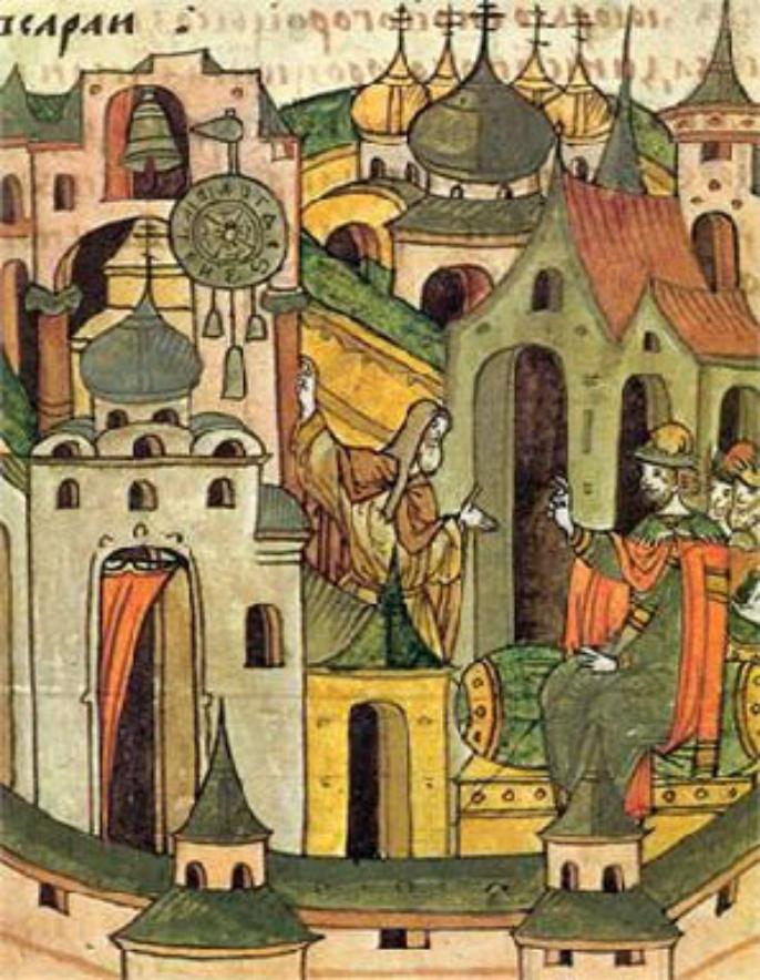 Србин Лазар Црноризац, Лазар Чернец,  објашњава Великом Кнезу Московском рад часовника, 1404 година.