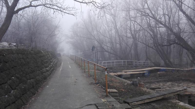 Пут ка мосту на Ади који се уопште не види од магле. На овом месту је 1930-тих било купалиште на Сави. Шест Топола.