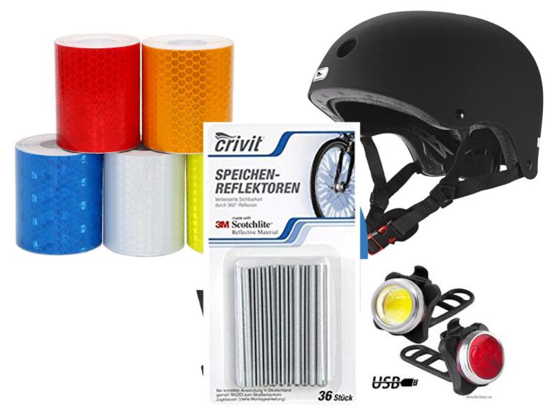 Материјал: рефлектујућа трака, LED светло, мачије око, рефлектујући штапићи ра жбице и шлем са светлом.