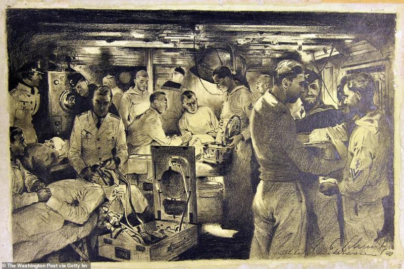 «Хирургическая палата на корабле ВМФ Германии» - это рисунок, сделанный углем 1940 года.