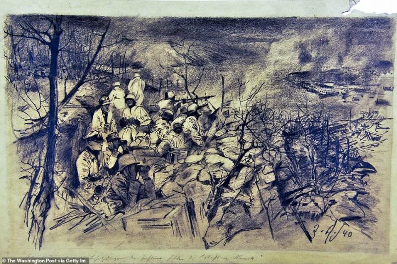 «Лыжные войска во время вторжения в Норвегию» - это рисунок, выполненный углем в 1940 году.