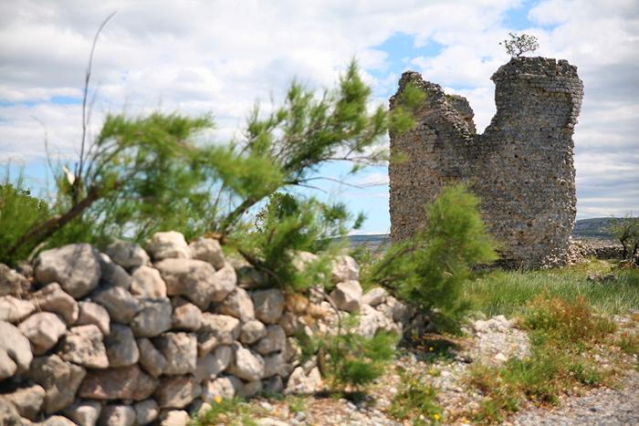 Часть каменной кладки и башня Вечка