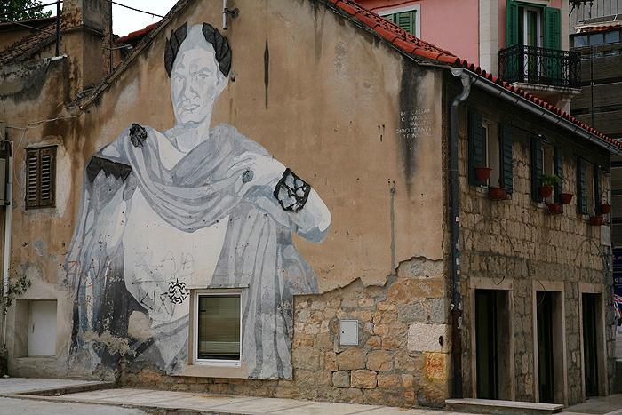 Изображение императора Диоклетиана на одном из домов Сплита