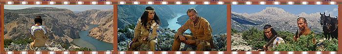 Кадры из фильмов «Виннету - сын Инчу-Чуны» и «Виннету и Шеттерхенд в Долине мертвых»