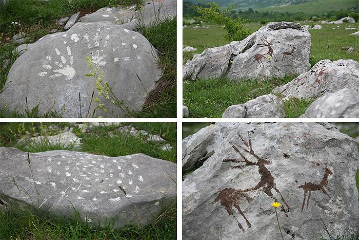 Рисунки на камнях, оставшиеся после съемок