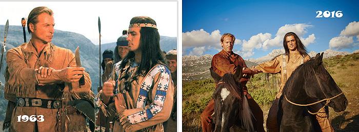 Кадры из фильма «Виннету – сын Инчу-Чуна» и постановочное фото для ремейка «Виннету»