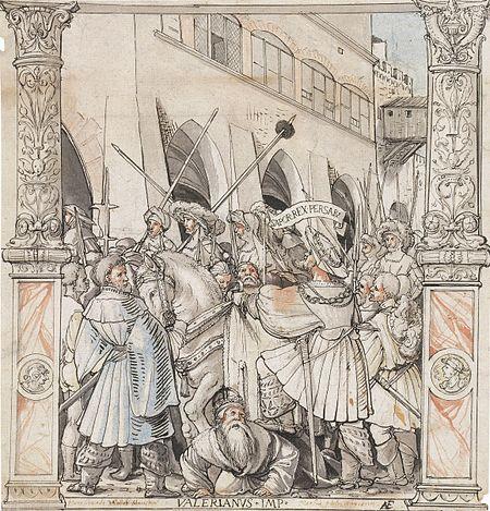 Унижение императора Валериана Шапуром, царём Персии. Рисунок Ганса Гольбейна.