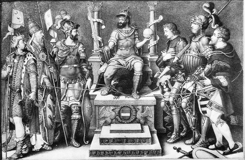 «Карл V в окружении поверженных врагов» (Джулио Кловио)