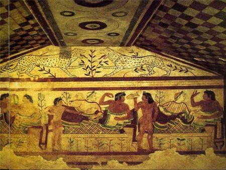 Сцена пира. Гробница Леопардов в Тарквиниях. V век до н. э