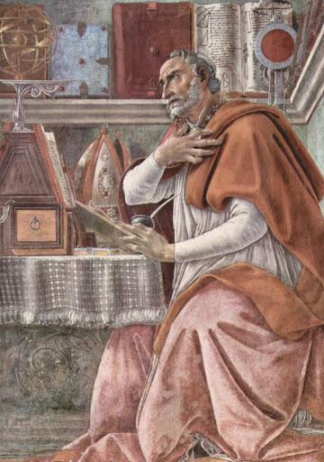Св. Августин. Фрагмент алтарной фрески С. Боттичелли в церкви Всех святых (Оньисанти) во Флоренции. 1480.